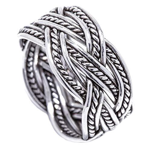 Windalf Breiter Wikinger Ring Zoran h: 1.3 cm Zopf Muster Handgeschmiedet aus 925 Sterlingsilber (Silber, 62 (19.7))