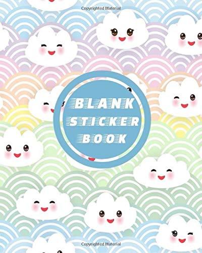 Blank Sticker Book: Unicorn Kawaii Cute Clouds Emoji Blank Sticker Album 100 Pages 8x10; Sticker Album for Collecting Stickers, (My Sticker Album Collection)