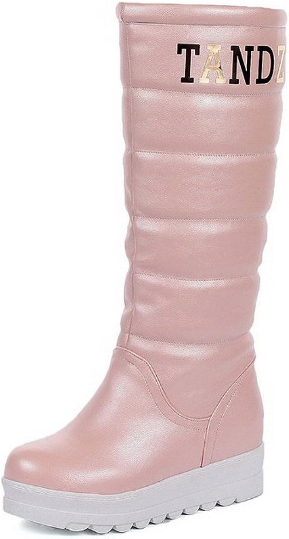 WeiPoot Women's Blend Materials Kitten-Heels Round Toe Boots