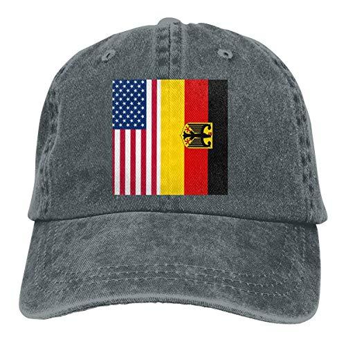 Casquette de baseball en denim avec drapeau américain et drapeau allemand