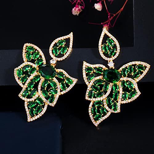 SALAN Forma De Hoja De Circonitas 18 K Oro Verde Esmeralda Topacio Cz Cristal Grandes Pendientes De Gota para Mujeres Fiesta Compromiso Joyería Regalos