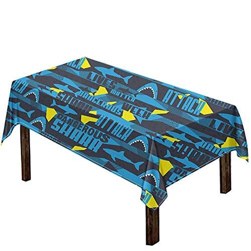 Woisttop Tischdecke mit gefährlichem Hai-Motiv, abwischbar, Party-Tischdecke