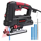 Jigsaw, Meterk Upgraded 800W 6.7 Amp 3000 SPM Jig Saw with Laser Guide & LED, 6 Variable Speed, 4PCS T-Shank Saw Blades, Scale Ruler, 78.74 Inches Cord, ±45°Bevel Cutting Angle