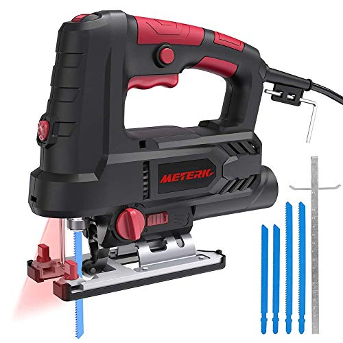Jigsaw, Meterk Upgraded 800W 6.5 Amp 3000 SPM Jig Saw with Laser Guide & LED, 6 Variable Speed, 4PCS T-Shank Saw Blades, Scale Ruler, 78.74 Inches Cord, ±45°Bevel Cutting Angle