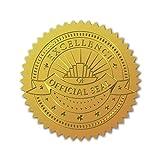 CRASPIRE 100 Unidad de Sellos de Certificado de Lámina de Oro En Relieve, Pegatinas Autoadhesivas, Pegatinas de Decoración de Medallas, Certificación, Graduación (Excellence OFFICIALA SKAL)