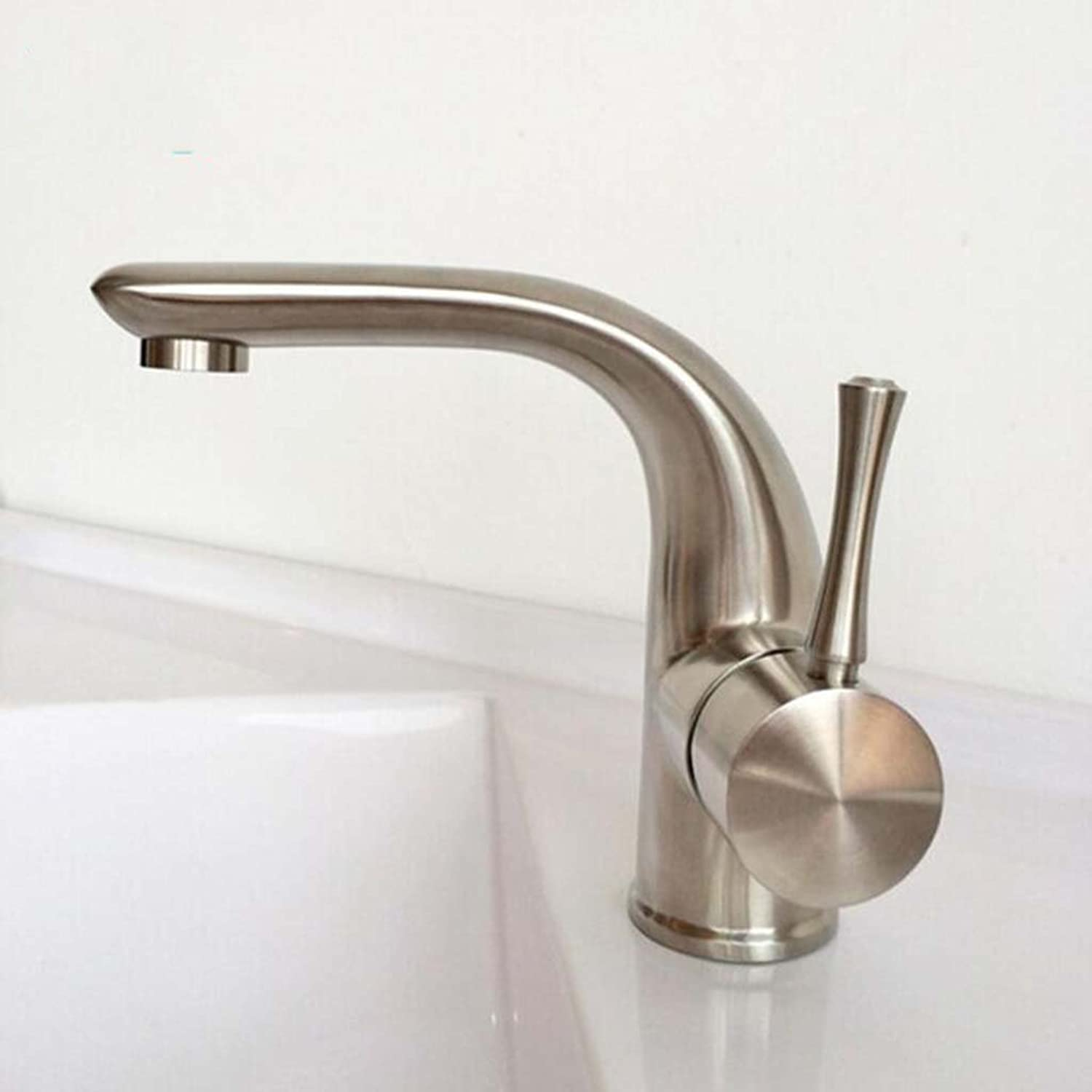 DDHZTA High-Grade Basin Mixer Faucet Sitting Stainless Steel 304 Basin Wash Basin Hot And Cold Faucet Brushed Household Bathroom Ceramic Valve Core