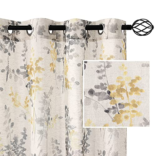 H.VERSAILTEX Sheer Linen Curtains 95 Inch Long Semi Sheer Curtains Draperies for Living Room/Bedroom Grey and Yellow Vintage Classical Floral Printing Window Treatment Grommet 2 Panels