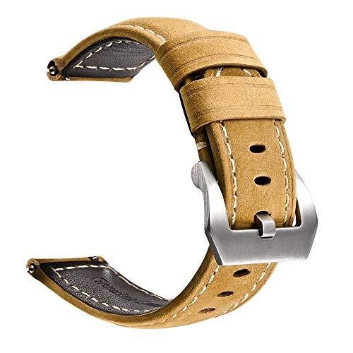 Correa de Reloj de liberación rápida de Cuero Genuino|con Hebilla de Acero Inoxidable|Fácilmente Intercambiable|Pulsera de Reloj de Repuesto para Hombres y Mujeres|Tamaño 24 mm|Marrón