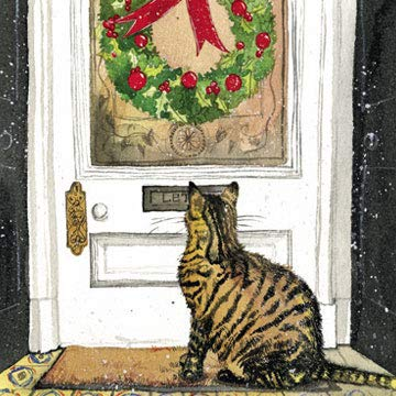 Alex Clark brievenbus kat liefdadigheid kerstkaart Pack (Pack van 5 kaarten) kat & brievenbus afbeelding
