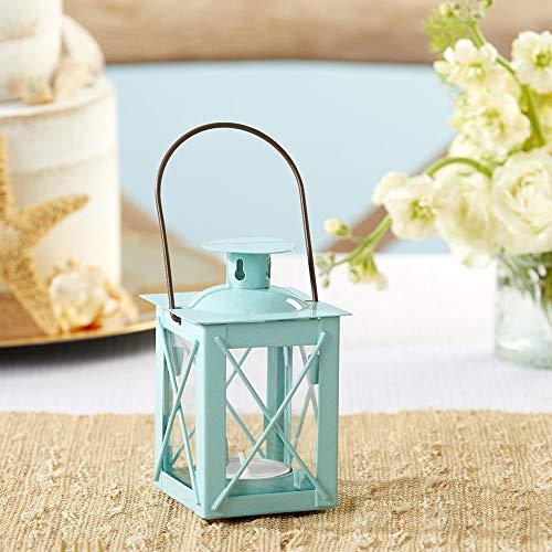 Kate Aspen Rustic Luminous Vintage Tea Light Candle Holders Metal Mini Lantern, Single, Teal Blue
