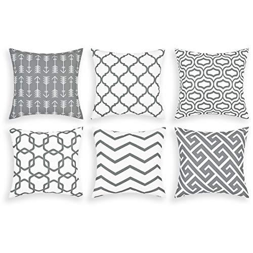 Alishomtll Juego de 6 fundas de cojín decorativas para exteriores, diseño geométrico, poliéster, 50 x 50 cm, color gris