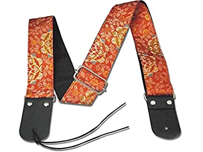 Traditional Japanese Red Floral Guitar Strap