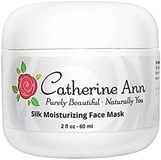 Silk Moisturizing Face Mask For Dry Skin - Hydrating Calming Mask with Hyaluronic Acid Amino Acids and Aloe Vera - 72% Organic - Doubles as a Cooling Gel Eye Mask - by Catherine Ann