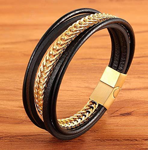 NJIANGHUA Pulsera de cuero para hombre de múltiples capas de acero inoxidable combinación de cuero negro hombres pulsera encanto pulseras