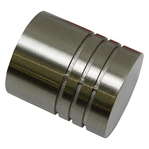 GARDINIA Endknöpfe für Gardinenstangen, 2 x Endstück Zylinder, Serie Chicago, Metall, Edelstahl-Optik, Durchmesser 20 mm