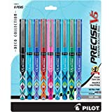 PILOT Precise V5 Stick Deco Collection Liquid Ink Rolling Ball Stick Pens, Extra Fine Point, Assorted Ink Colors, 9-Pack (38811)