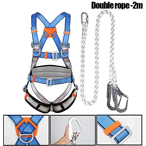 WXKER klimgordel, veiligheidsset met veiligheidssnoer en haak (opening 60 mm), verstelbaar, volledige body klimgordel, veiligheidsgordel voor werkers dakbedekker steiger installatie