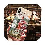 iPhone 6 6S 7 8 Plus X XS MAX XRケース用の和風塗装エンボス加工電話ケース11 11Pro Max Coque用ソフトTPUバックカバー、iPhone 6 1用