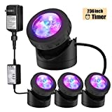 Pond Lights Submersible Lights [Set of 4] with Timer IP68 Underwater Lights...