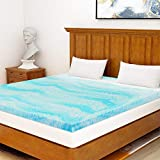 Milemont Mattress Topper Queen, 3-Inch Cool Swirl Gel Memory Foam Mattress Topper, Blue