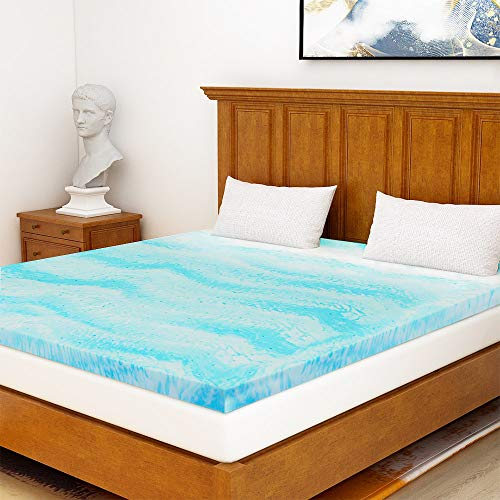 Milemont Mattress Topper Full, 2-Inch Cool Swirl Gel Memory Foam Topper for Full Size Bed, Blue