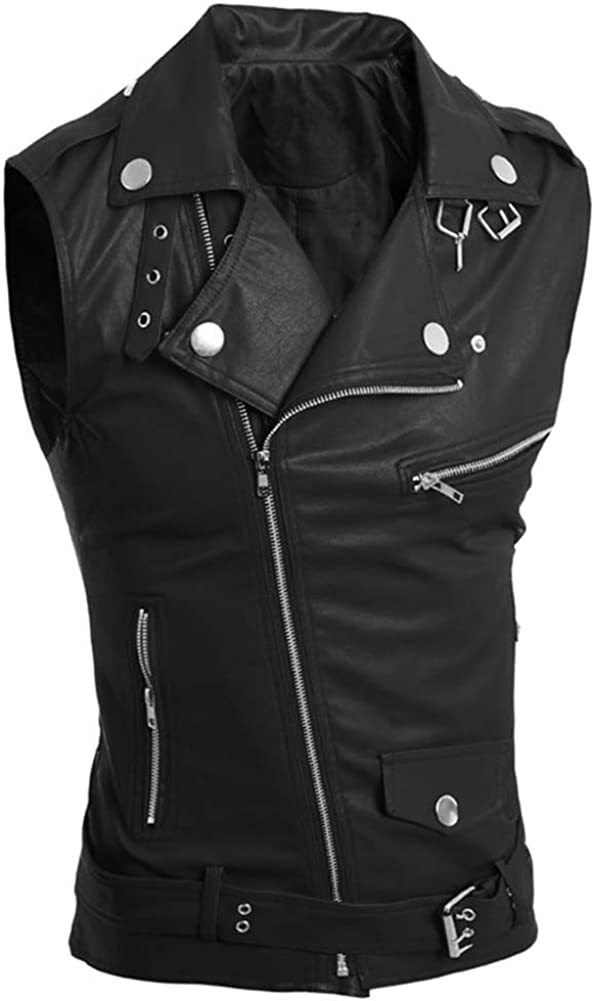 LifeHe Men's PU Leather Sleeveless Vests Jacket With Zipper