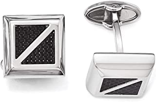 Lex & Lu Chisel Stainless Steel Polished w/Black Carbon Fiber Square Cuff Links
