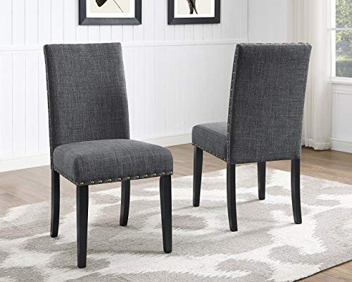 Roundhill Furniture Biony Gray Fabric Dining Chairs with Nailhead Trim, Set of 2