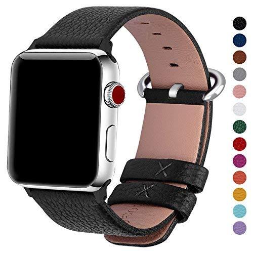 Fullmosa kompatibel Apple Watch Armband 38mm (Series 4 40mm) Leder in 15 Farben für Series 4 3 2 1,Schwarz 38mm/40mm