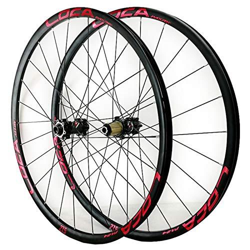 ZCXBHD MTB Delantera + Trasero Rueda 26/27,5/29 Pulgadas Bicicleta Montaña Juego De Ruedas Eje Pasante 8-12 Velocidades Ultraligero Aleación Aluminio 24H (Color : E, Size : 29in)