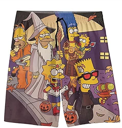 EA-SDN Bañador para niños The Simpsons 3D Anime, pantalones cortos de verano, pantalones cortos de playa, para vacaciones, informales, surf, secado rápido, 6, 160