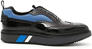 Prada Men's Mesh-Panelled Spazzolato Leather Wingtip Brogues, Nero (Black) 2EG233
