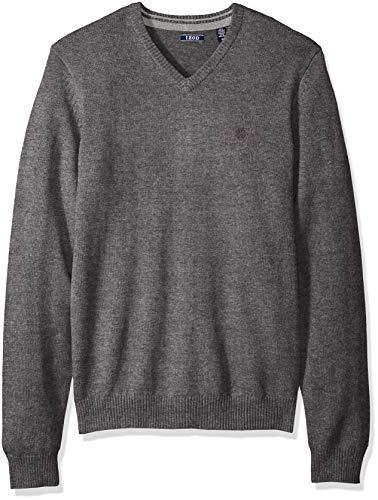 IZOD Men's Premium Essentials Solid V-Neck 12 Gauge Sweater, new carbon heather, Medium