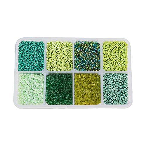 PH PandaHall 1 Box Mixed Style Green 12/0 Glass Seed Beads, 2mm, Hole: 0.5mm