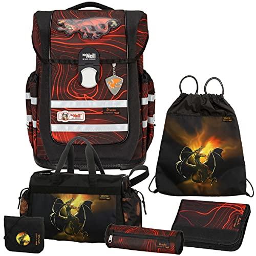 Drache - Dragons - McNeill Ergo Complete mit McAddy Schulranzen-Set 6tlg. mit BRUSTBEUTEL und Sporttasche