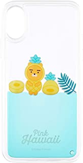 KAKAO FRIENDS Official- Pink Hawaii Liquid Floating Phone Case Compatible with iPhone 7/7 Plus / 8/8 Plus/X/XS (Ryan, 7/8 Plus)
