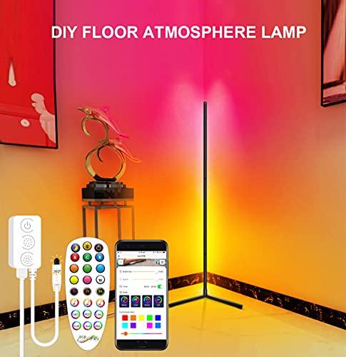 KKING LED Stehlampe Dimmbar mit Fernbedienung & APP, 2800LM Stehleuchte Deckenfluter für Wohnzimmer Schlafzimmer, Farbwechsel Lichtsaeule RGB Farbtemperaturen Ecklampe und Helligkeit Stufenlos