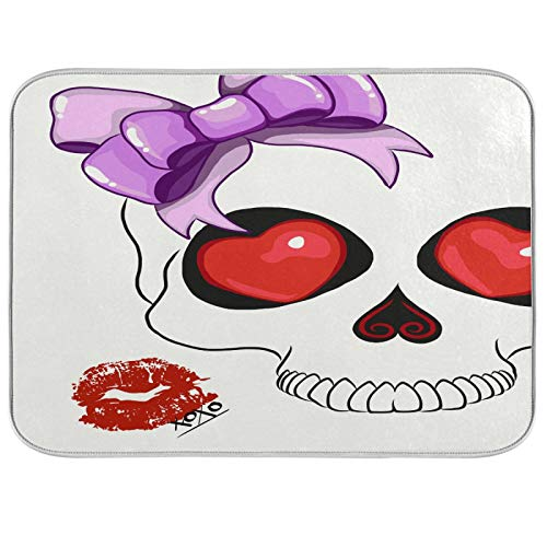 Cute Candy Skull Lip Dish Drying Mat Kitchen Home Decor Day Of The Dead Absorbent Dishes Dry Pad 16x18 Inch Easy Clean Drainer Mats for Baby Bottle Countertops