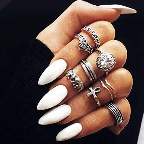 Fairvir 24pcs faux ongles pointe pleine couverture acrylique faux ongles punk clip fête de la mode sur les ongles pour les femmes et les filles (blanc)