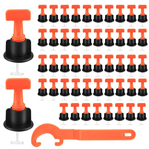 Kit de Sistema de Nivelación de Azulejos, Nivelador de Azulejos Reutilizables, Herramienta Separador de Nivelador Bricolaje para Construir Paredes, Suelos - 50 Piezas, con llave Especial