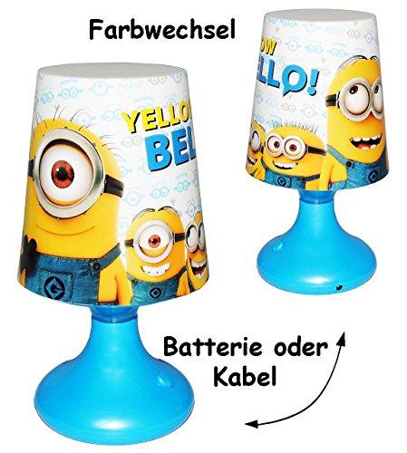 alles-meine.de GmbH LED Tischlampe mit Farbwechsel -  Minions - Ich einfach unverbesserlich  - Batteriebetrieben - auch Kabel möglich / SCHNURLOS & Kabellos - 19 cm hoch - Tisc..