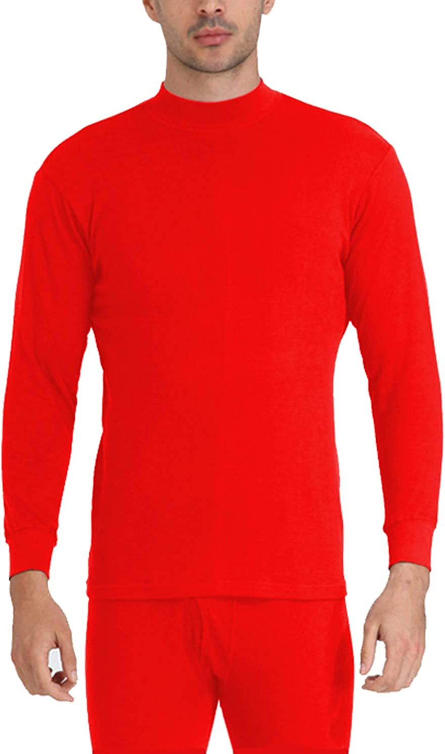 Seaoeey Men's Cotton Thermal Underwear Set Middle-Aged High Neck Base Layer Long Johns
