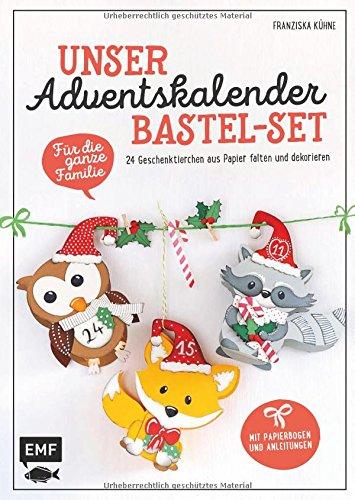 Unser Adventskalender Bastel-Set – Für die ganze Familie: Mit Papierbogen und Anleitungen: 24 Geschenktierchen aus Papier falten und dekorieren