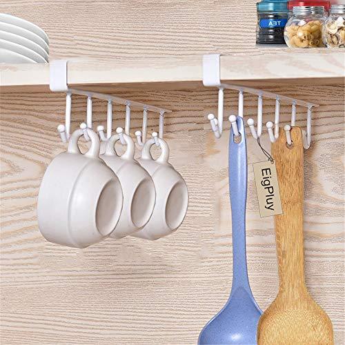 EigPluy 2pcs Tazas Soportes Vasos de Vino de Almacenamiento Ganchos Utensilios de Cocina Lazos Cinturones y Bufanda Colgando Gancho Soporte de Rack Debajo del Gabinete Armario sin Perforación,Blanco