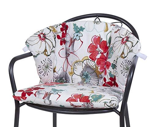 Kettler Polen KETTtex 0843 Auflage für Royal Garden MWH Sessel Elegance Creme mit Blumen Sitzpolster (ohne Stuhl)