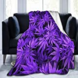 Purple Cannabis Weed Leaves - 50x40 Inches Cozy Plush Solid Throw Blanket, Super Soft Fuzzy Fleece Blanket for Bedroom Livingroom Best Gifts