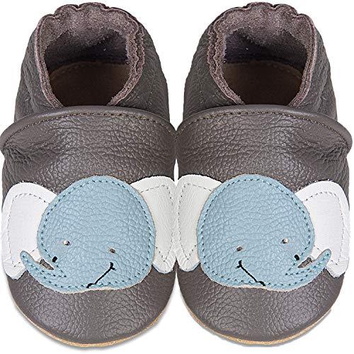 IceUnicorn Weiche Leder Babyschuhe Lauflernschuhe Krabbelschuhe Babyhausschuhe mit Wildledersohlen für Junge Mädchen Kleinkind(Dunkelgrauer Elefant,6-12)