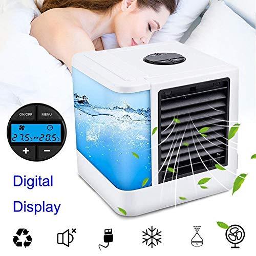 YaoLAN Mobiele airconditioning, draagbaar, 3-in-1 aircooler luchtbevochtiger en luchtreiniger met 375 ml waterreservoir, 7 kleuren LED Cool Air ventilator voor slaapkamer woonkamer kantoor