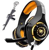 naranja Auriculares Gaming PS4 PC XBOX One con microfono, Cascos Gaming, Auriculares para Juegos para Switch Tableta Celular, Headset estereofónico con fantástico LED Luces, micrófono antiruido