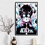 LGYJAL Imágenes Impresas Decoración del hogar Arte de la Pared Mob Psycho 100 Estilo nórdico Japón Anime Póster Pintura en Lienzo Sala de Estar 50x70 cm C-808
